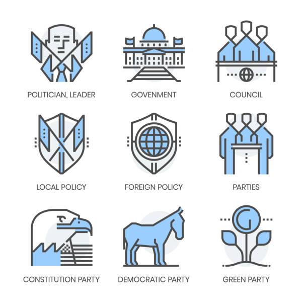 polityka i strony związane, kwadratowy kolor linii wektorowy zestaw ikon - white house stock illustrations