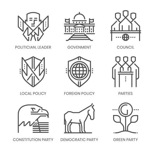 polityka i związane z partiami, kwadratowy zestaw ikon wektorowych linii - white house stock illustrations