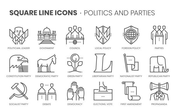 politics and parties related, square line vector icon set - white house stock illustrations