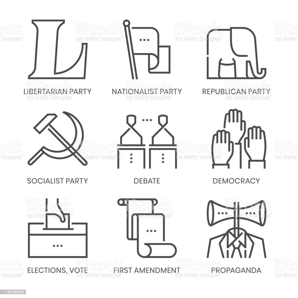 Politics and parties related, square line vector icon set for...