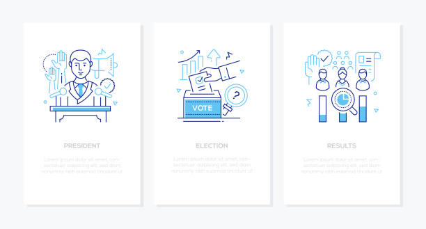 Politics concept - line design style banners set vector art illustration