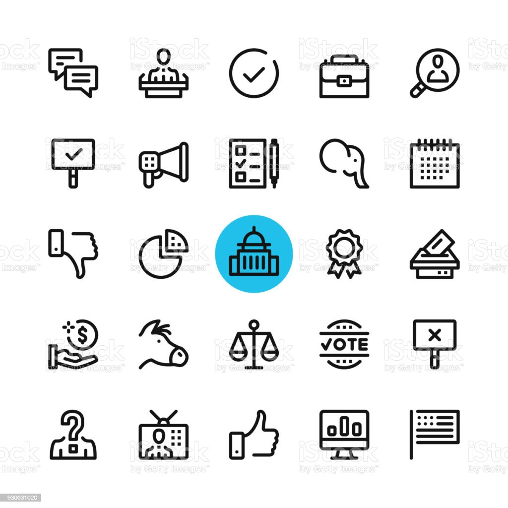 Politics, elections line icons set. Modern graphic design concepts, simple outline elements collection. 32x32 px. Pixel perfect. Vector line icons