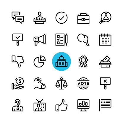 Politics, elections line icons set. Modern graphic design concepts, simple outline elements collection. 32x32 px. Pixel perfect. Vector line icons