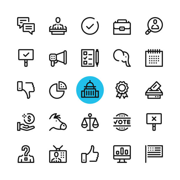 Politics, elections line icons set. Modern graphic design concepts, simple outline elements collection. 32x32 px. Pixel perfect. Vector line icons vector art illustration