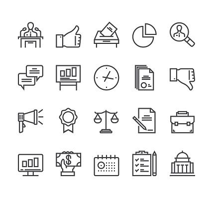 Politics elections line isolated icon set. Vector flat cartoon graphic design illustration