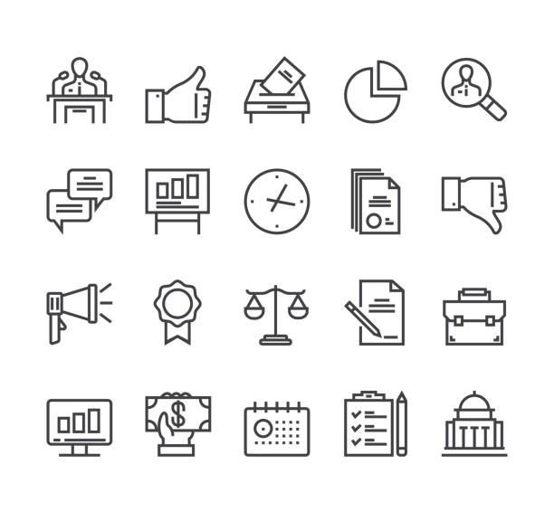 ilustraciones, imágenes clip art, dibujos animados e iconos de stock de línea de elecciones políticas icono aislado establecido. ilustración de diseño gráfico de dibujos animados planos vectoriales - polling place