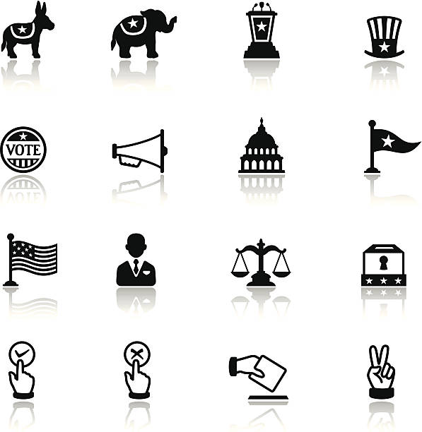 политика икона набор - presidential debate stock illustrations