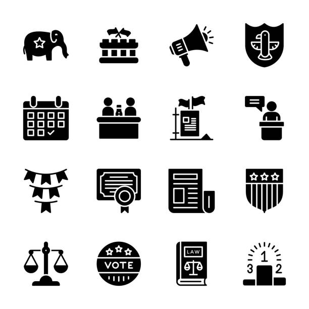 usa politics icons set - white house stock illustrations