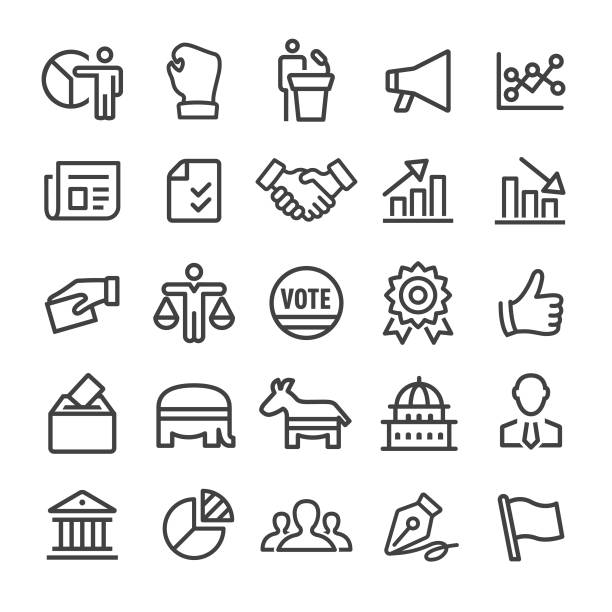 Politics Icons - Smart Line Series Politics, election, government, political party, government stock illustrations