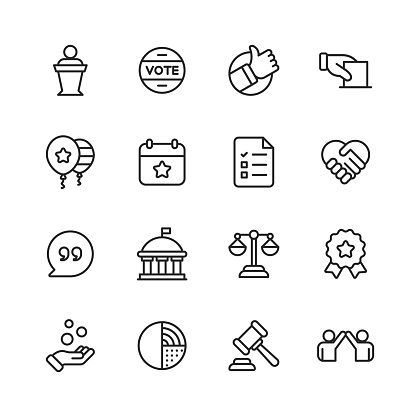 Politics Line Icons. Editable Stroke. Pixel Perfect. For Mobile and Web. Contains such icons as Voting, Campaign, Candidate, President, Handshake, Law, Donation, Government, Congress.
