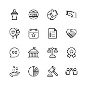 16 Politics Outline Icons.