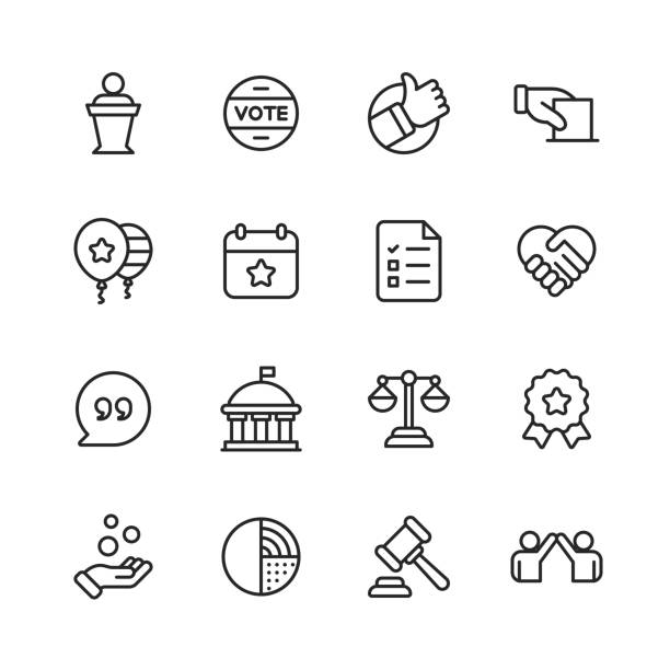 Politics Line Icons. Editable Stroke. Pixel Perfect. For Mobile and Web. Contains such icons as Voting, Campaign, Candidate, President, Handshake, Law, Donation, Government, Congress. 16 Politics Outline Icons. budget symbols stock illustrations