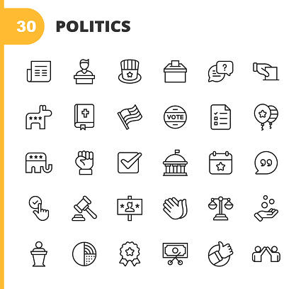 Politics Line Icons. Editable Stroke. Pixel Perfect. For Mobile and Web. Contains such icons as Voting, Campaign, Candidate, President, Law, Donation, Government, Congress, Republicans, Democrats, Bible, Election, Flag, Debate, Power.