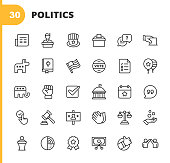 30 Politics Outline Icons. Newspaper, Candidate, Politician, Voting, Debate, Vote, Republicans, Bible, Flag, Promises, Balloon, Democrats, Power, Government, Calendar Date, Quote, Law, Advertising, Billboard, Support, Court, Donation, Chart.