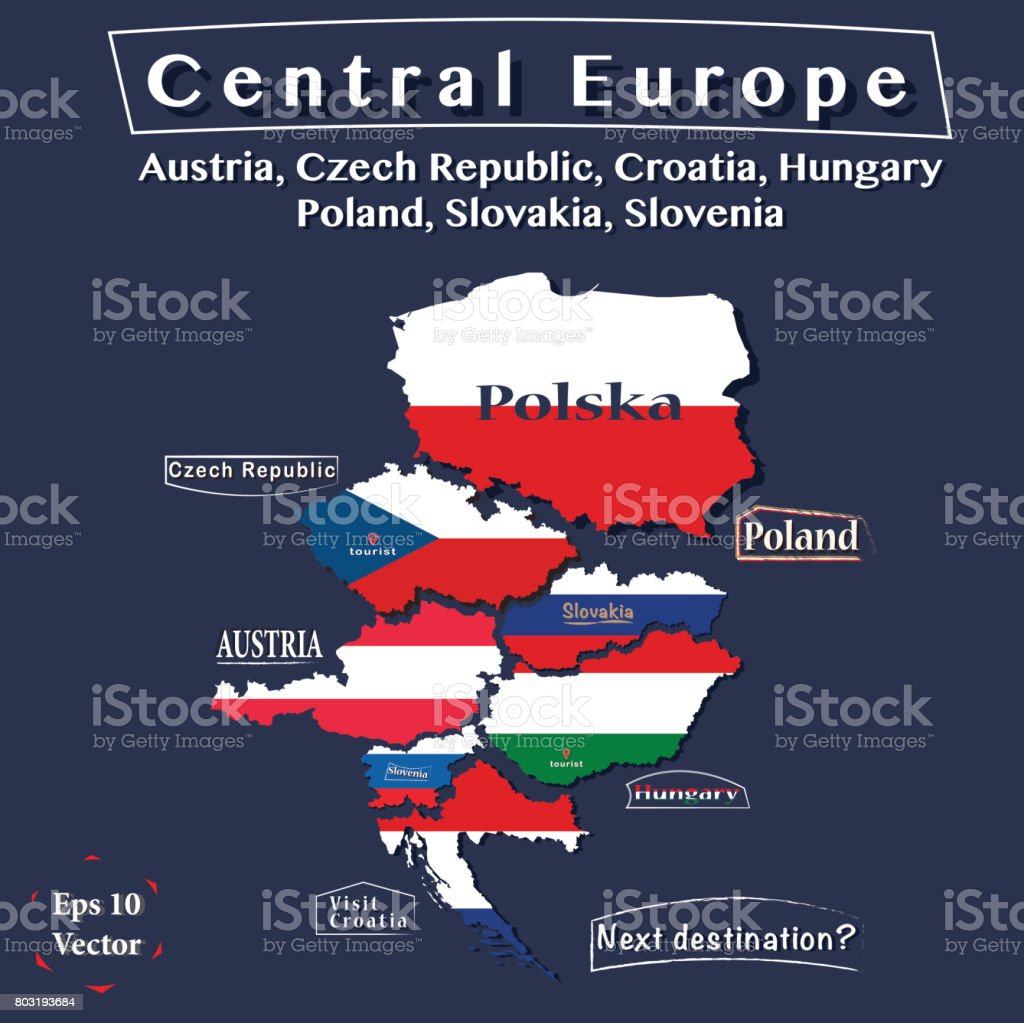 Politics map of Central Europe. Austria, Czech Republic, Hungary, Poland, Croatia, Slovakia, Slovenia. Vector illustration in colours of the national flag for each country. vector art illustration