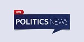 Politics news header isolated on white background. Breaking news Banner design template.