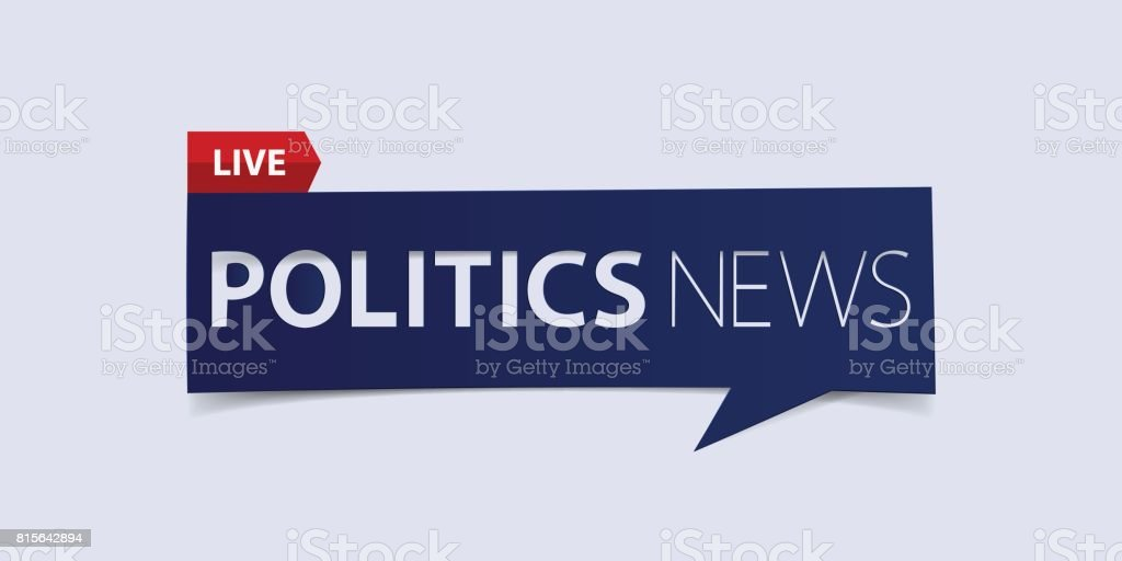 Politics news header isolated on white background. Breaking news Banner design template. vector art illustration