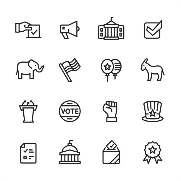 Politics - outline icon set 16 line black and white icons / Set #13 american flag illustrations stock illustrations
