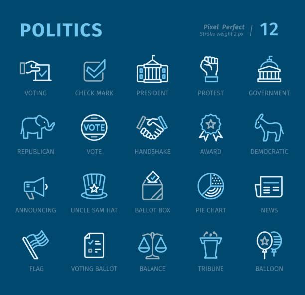 ilustraciones, imágenes clip art, dibujos animados e iconos de stock de política - los iconos de contorno con subtítulos - polling place