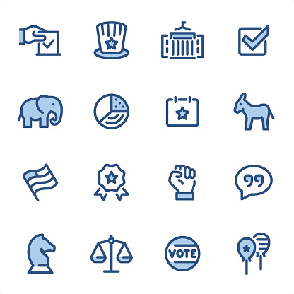 USA Politics - Pixel Perfect blue line icons