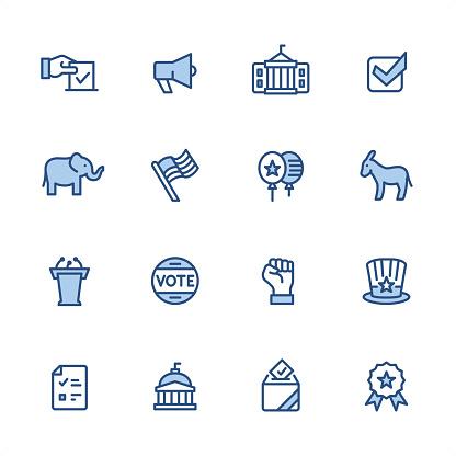 Politics - Pixel Perfect blue outline icons