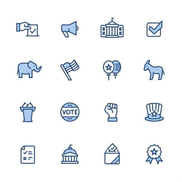 siyaset - pixel perfect mavi anahat simgeleri - siyaset ve hükümet stock illustrations