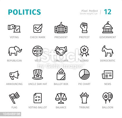 Politics and Government - 20 Outline Style - Single line icons with captions / Set #12 / Designed in 48x48 pх square, outline stroke 2 px  First row of outline icons contains: Voting, Check Mark, President, Protest, Government;  Second row contains: Elephant (Republican), Vote, Handshake, Award, Donkey (Democratic);  Third row contains: Announcing, Uncle Sam Hat, Ballot Box, Pie Chart, News;  Fourth row contains: Flag, Voting Ballot, Balance, Tribune, Balloon.  Complete Signico collection - https://www.istockphoto.com/collaboration/boards/VT_7sDWo80OLh7foVxchBQ