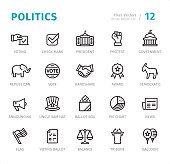 Politics and Government - 20 Outline Style - Single line icons with captions / Set #12 / Designed in 48x48 pх square, outline stroke 2 px\n\nFirst row of outline icons contains:\nVoting, Check Mark, President, Protest, Government;\n\nSecond row contains:\nElephant (Republican), Vote, Handshake, Award, Donkey (Democratic);\n\nThird row contains:\nAnnouncing, Uncle Sam Hat, Ballot Box, Pie Chart, News;\n\nFourth row contains:\nFlag, Voting Ballot, Balance, Tribune, Balloon.\n\nComplete Signico collection - https://www.istockphoto.com/collaboration/boards/VT_7sDWo80OLh7foVxchBQ
