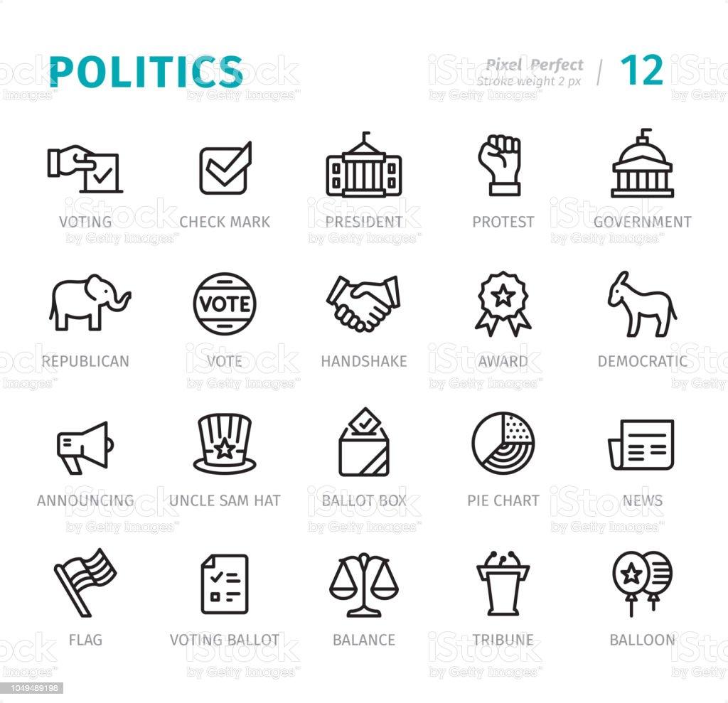 Politics - Pixel Perfect line icons with captions vector art illustration