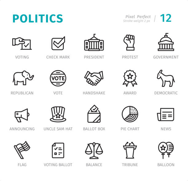 Politics - Pixel Perfect line icons with captions Politics and Government - 20 Outline Style - Single line icons with captions / Set #12 / Designed in 48x48 pх square, outline stroke 2 px  First row of outline icons contains: Voting, Check Mark, President, Protest, Government;  Second row contains: Elephant (Republican), Vote, Handshake, Award, Donkey (Democratic);  Third row contains: Announcing, Uncle Sam Hat, Ballot Box, Pie Chart, News;  Fourth row contains: Flag, Voting Ballot, Balance, Tribune, Balloon.  Complete Signico collection - https://www.istockphoto.com/collaboration/boards/VT_7sDWo80OLh7foVxchBQ political party stock illustrations