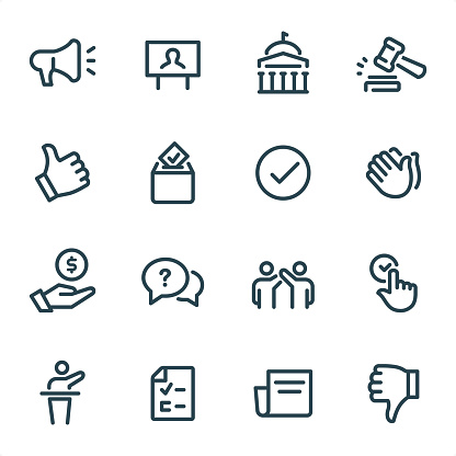 Politics icons set #31 Specification: 16 icons, 36x36 pх, stroke weight 2 px Features: Pixel Perfect, Unicolor, Single line   First row of icons contains: Announcing, Billboard with Candidate, Government, Gavel;  Second row contains: Thumbs Up, Ballot Box, Check Mark, Applause;  Third row contains: Budget, Debate, Winning, Voting;   Fourth row contains: Speaker, Voting Ballot, News, Thumbs Down.  Complete MICO collection - https://www.istockphoto.com/collaboration/boards/UUv7uLop-06yEw9xnOBMNg