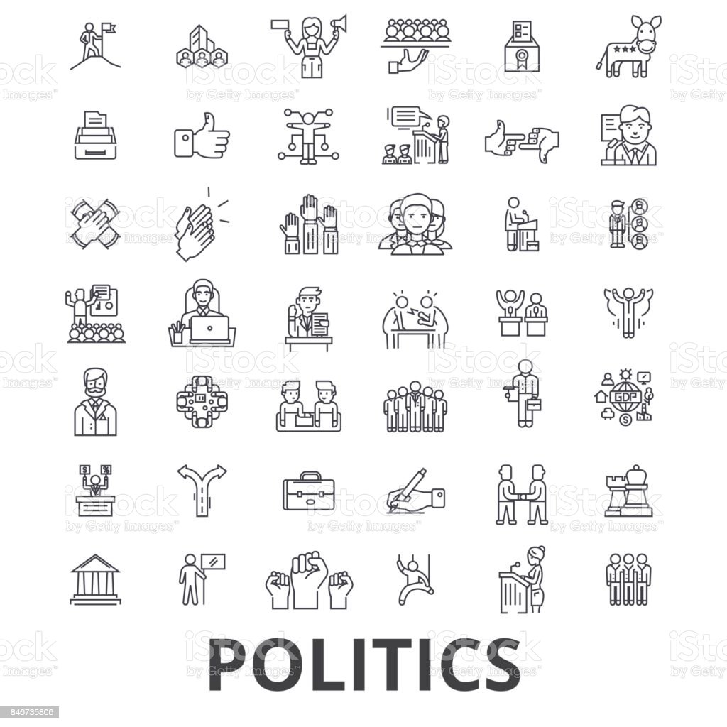 Politics, politician, vote, election, campaign, government, political party line icons. Editable strokes. Flat design vector illustration symbol concept. Linear signs isolated vector art illustration