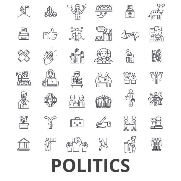 ilustrações, clipart, desenhos animados e ícones de política, político, votação, eleição, campanha, governo, ícones da linha política do partido. cursos editáveis. conceito de símbolo ilustração vetor design plano. sinais lineares isolados - político