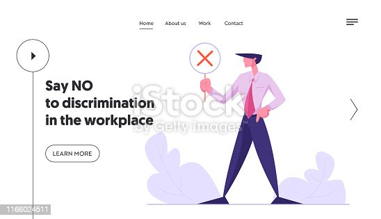 Politics, Public Relations Website Landing Page, Businessman Holding Banner with Red Cross, No Symbol, Voting, Politics Decision, Negative Reply, Web Page. Cartoon Flat Vector Illustration, Banner