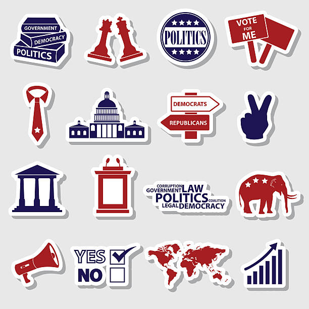 politics red and blue simple stickers set eps10 vector art illustration