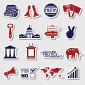 politics red and blue simple stickers set eps10