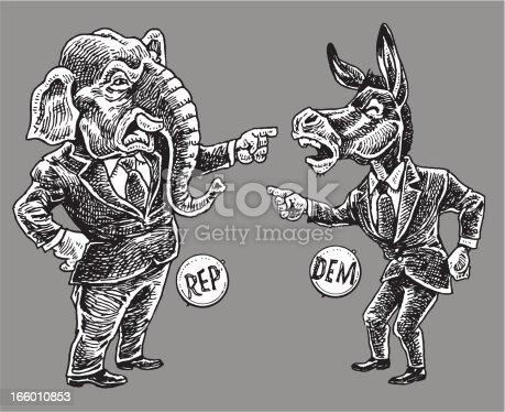 Politics - Republicans and Democrats Pointing Finger Cartoon. Pen and ink style illustration of American Politics - Republicans and Democrats. Check out my