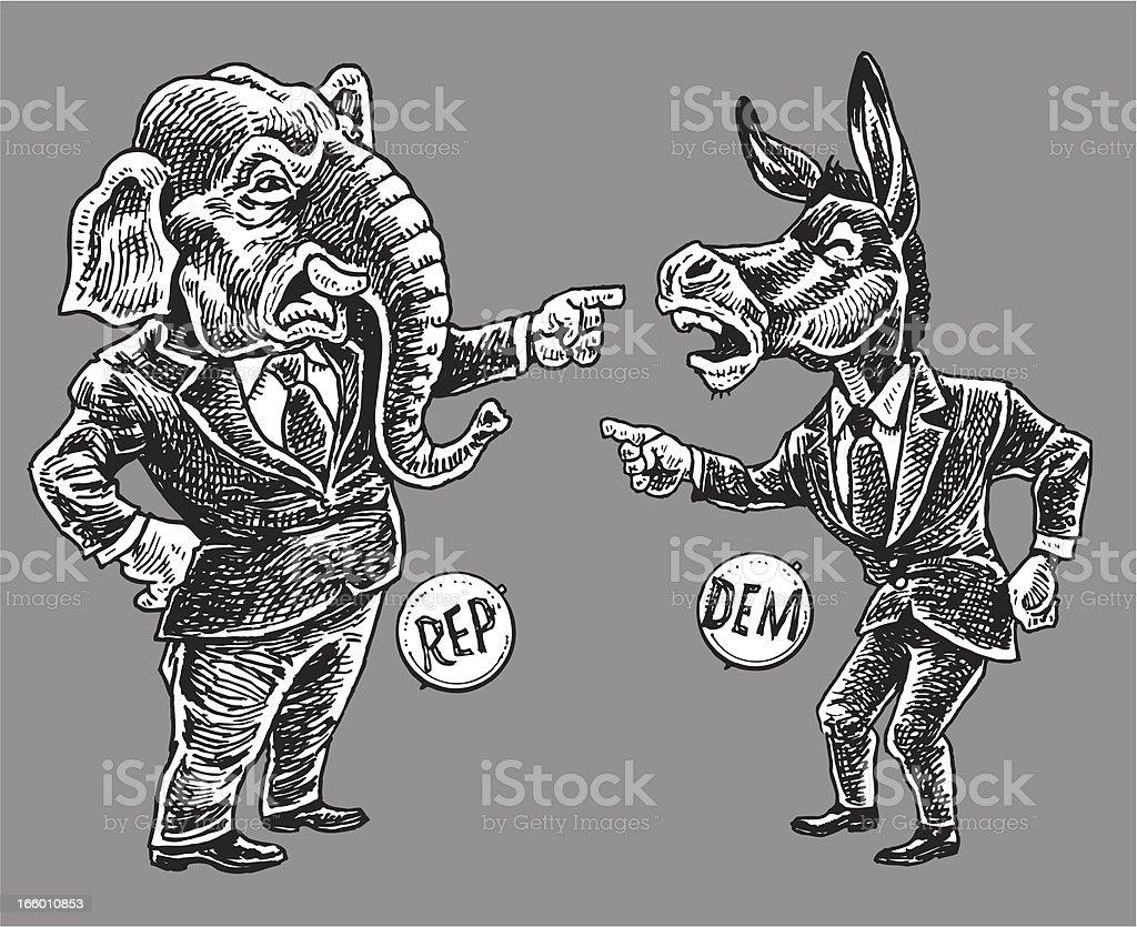 Politics - Republicans and Democrats Pointing Finger Cartoon vector art illustration