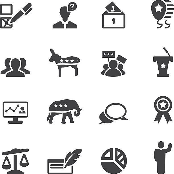 Politics Silhouette Icons 2 Politics Silhouette Icons 2 party conference stock illustrations