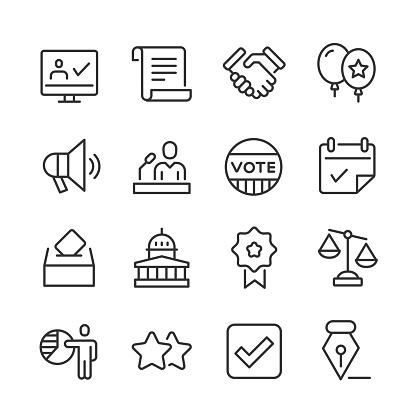 Politics & Voting Icons — Monoline Series