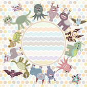 Polka dot background, card for text in circle. cute monsters