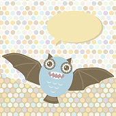 Polka dot background, pattern. Funny cute bat monster