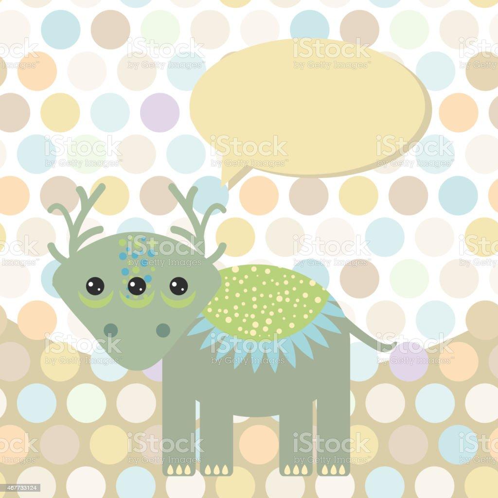 Polka dot background, pattern. Funny cute monster dinosaur