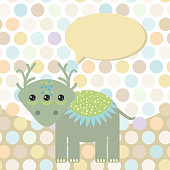 Polka dot background, pattern. Funny cute monster dinosaur