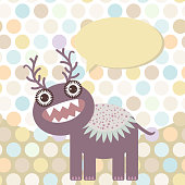 Polka dot background, pattern. Funny cute monster