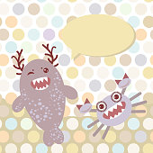 Polka dot background, pattern. Funny cute monsters