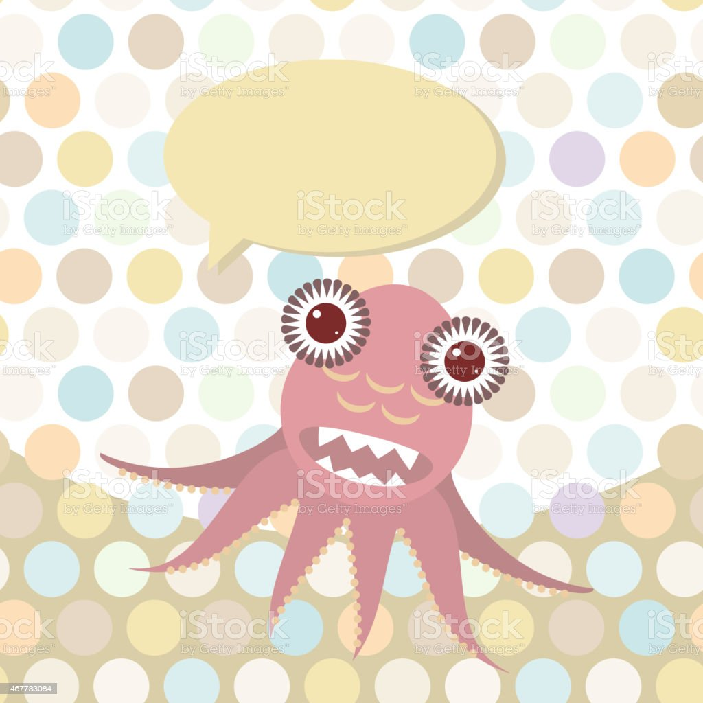 Polka dot background, pattern. Funny cute octopus monster