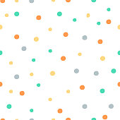 Polka dot background. Childish texture. Vector hand drawn illustration perfect for textile, wrapping, wallpaper.