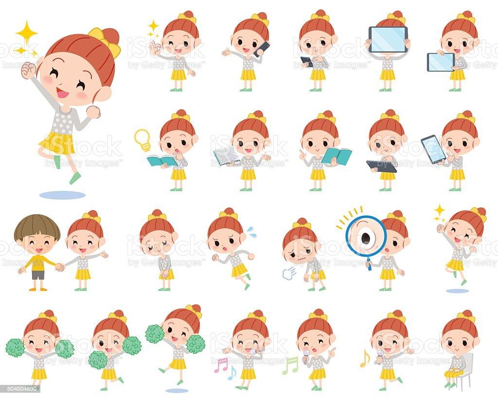 Polka dot clothes ribbon girl 2 vector art illustration