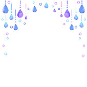 It is a decorative frame of polka dots and drops. It is a watercolor design of polka dots.